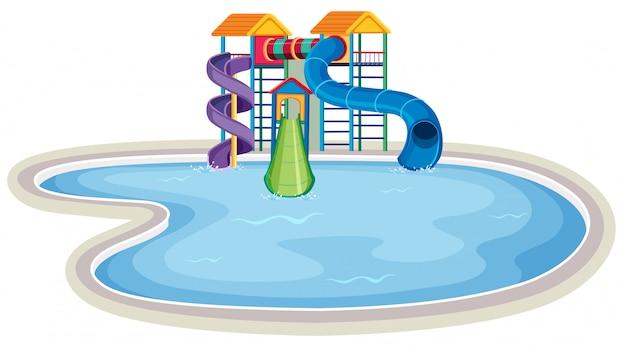 Scena z dużym basenem w parku wodnym
