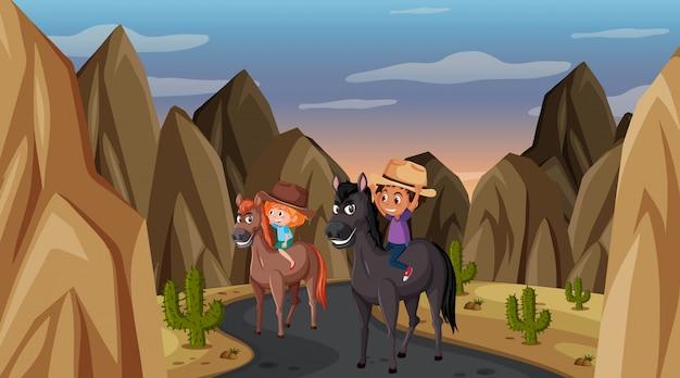Scena z dwójką dzieci na koniu na drodze
