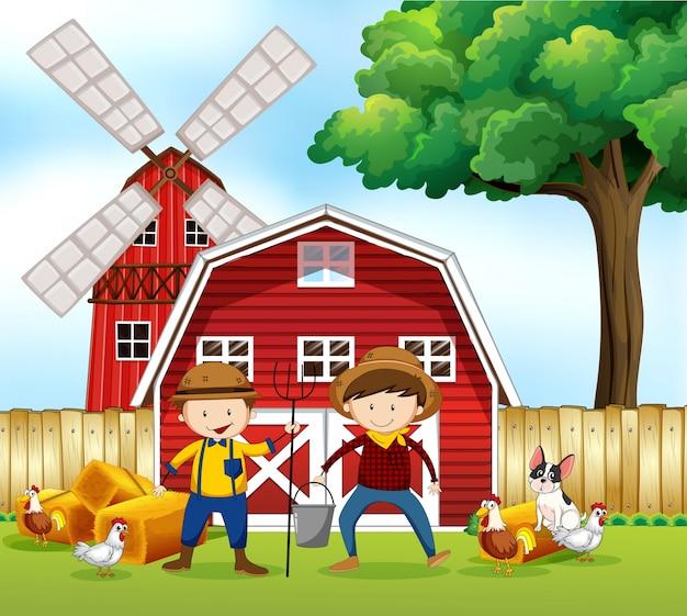 Scena z dwoma rolnikami i zwierzętami