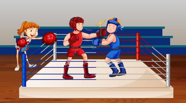 Scena z dwoma sportowcami boksującymi na scenie