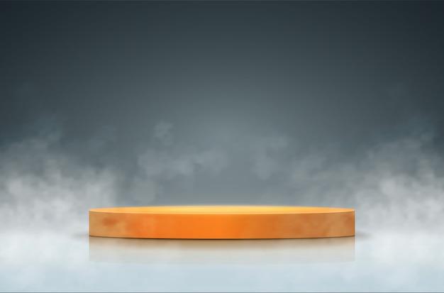 Scena z dymem. okrągłe podium.