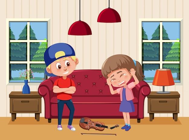 Scena z dzieckiem zastraszającym przyjaciela w domu