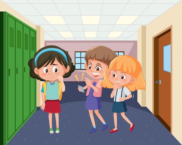 Scena z dzieckiem zastraszającym przyjaciela w szkole