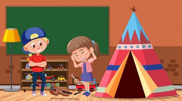 Scena z dzieckiem znęcającym się nad przyjacielem w pokoju