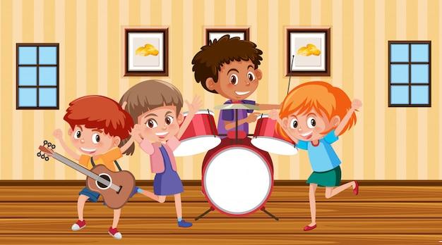 Scena z dziećmi grającymi w zespole