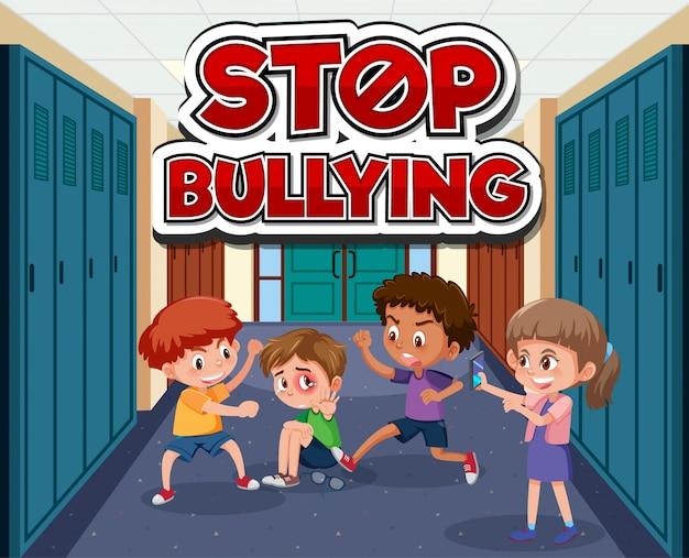 Scena z dziećmi znęcającymi się z przyjacielem w szkole