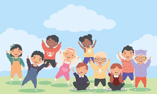 Scena z dziesięcioma małymi dziećmi