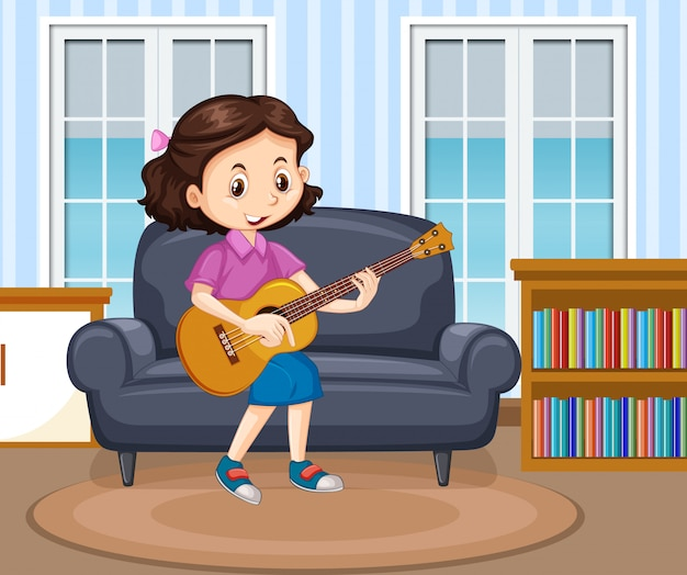 Scena z dziewczyną grającą na gitarze w salonie