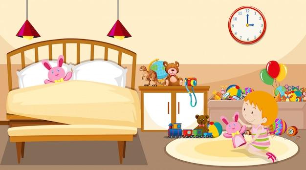 Scena z dziewczyną grającą w pokoju