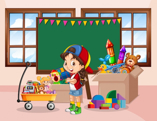 Scena z dziewczyną i wieloma zabawkami w pokoju