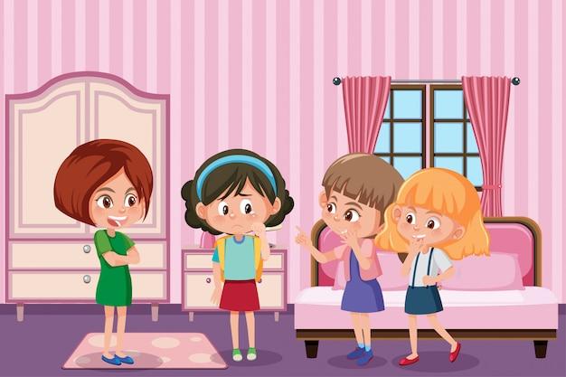 Scena z dziewczyną plotkującą przyjaciół w pokoju