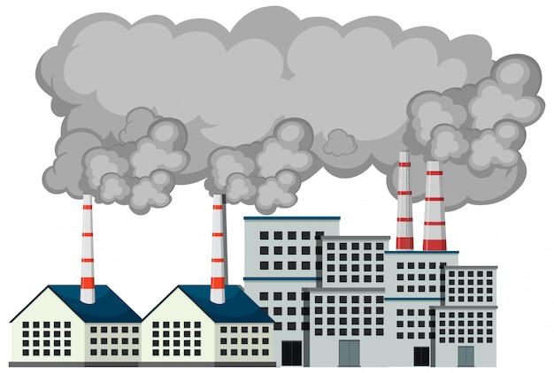 Scena z fabrycznymi budynkami i dymem wychodzącym