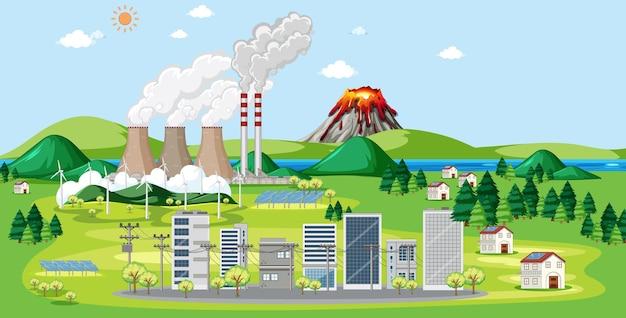 Scena z fabrykami i budynkami w mieście
