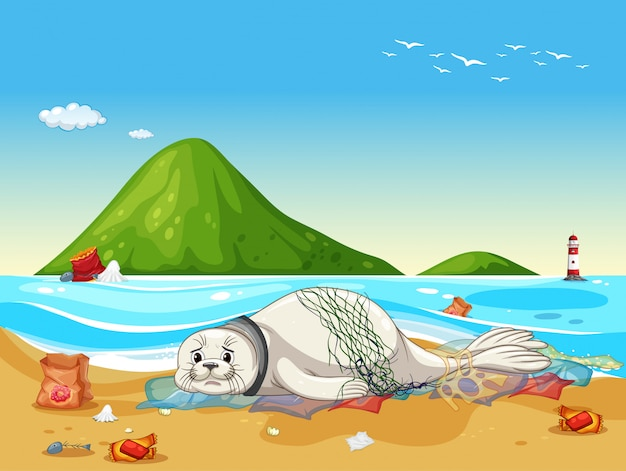 Scena z foką i plastikowymi śmieciami na plaży