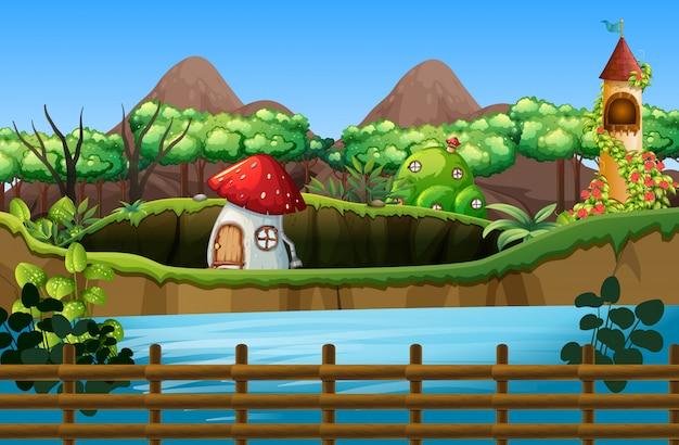 Scena z grzybowym domem i wieżą