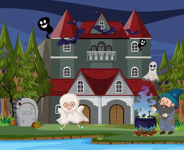 Scena z halloweenową nawiedzoną posiadłością w nocy