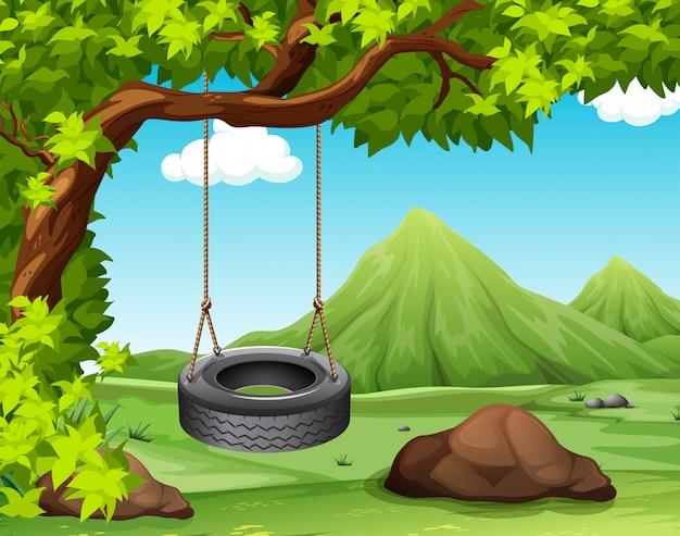 Scena z huśtawką na drzewie