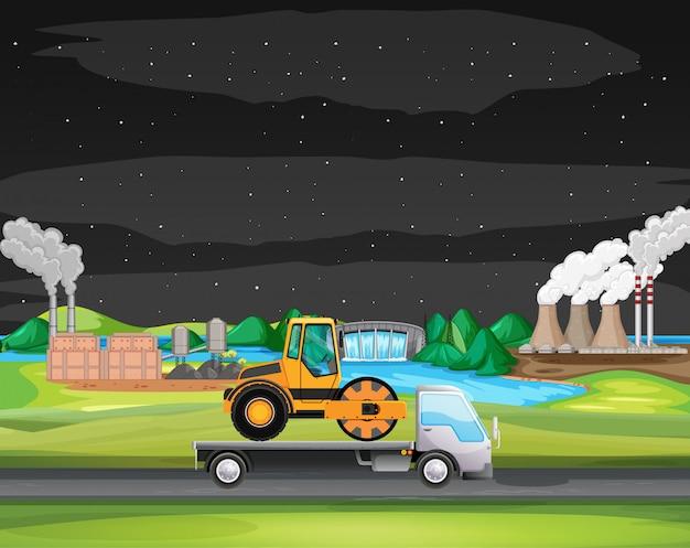 Scena z jazdą ciężarówką wzdłuż strefy przemysłowej