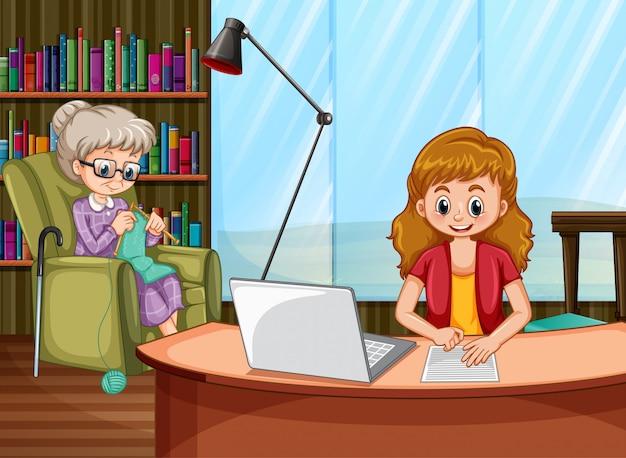 Scena z kobietą pracującą na komputerze i stara kobieta dziewiarskich