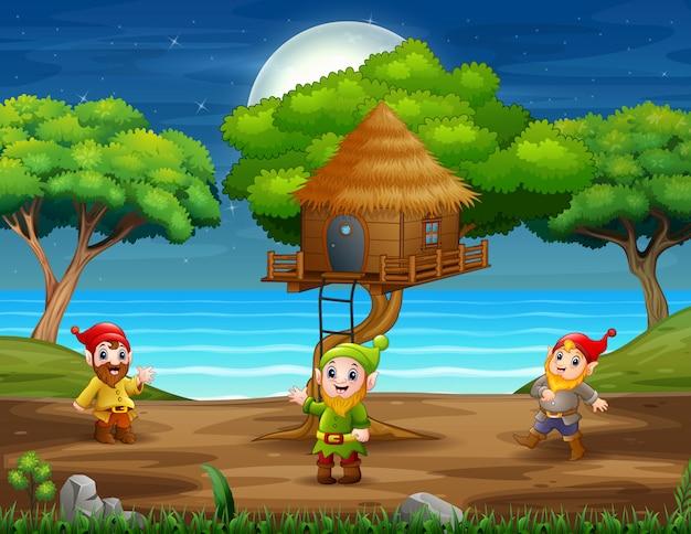 Scena z krasnoludem pod domkiem na drzewie
