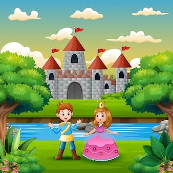 Scena z księciem i księżniczką na skraju rzeki