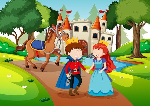 Scena z księciem i księżniczką na zamku