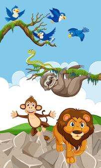 Scena z latającymi niebieskimi ptakami i wieloma zwierzętami na lądzie