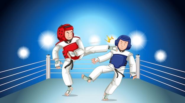 Scena z ludźmi grającymi w taekwondo na ringu