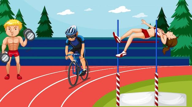 Scena z ludźmi uprawiającymi sporty lekkoatletyczne
