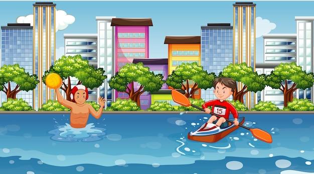 Scena z ludźmi uprawiającymi sporty wodne w mieście