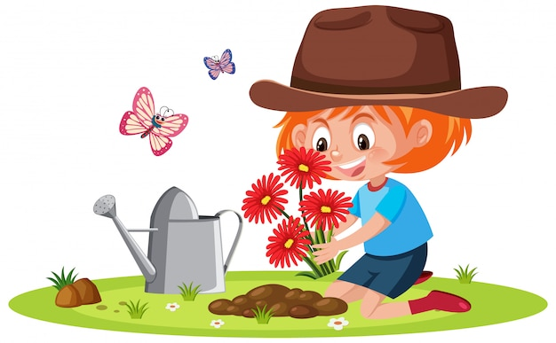 Scena z małej dziewczynki podlewania rośliną w ogródzie