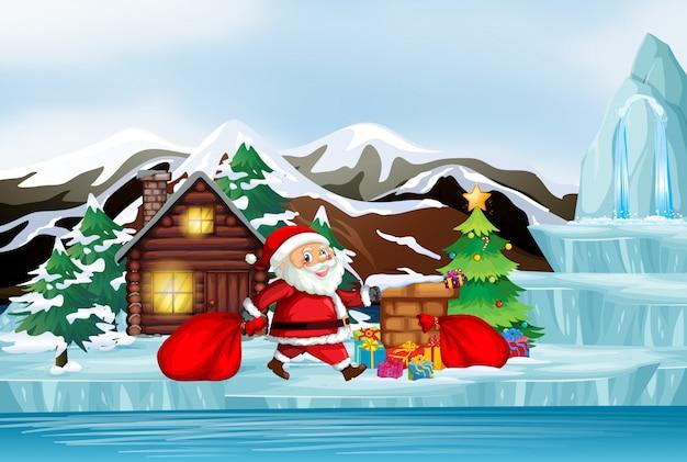 Scena z mikołajem w zimie