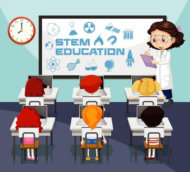 Scena z nauczycielem i uczniami w klasie nauk ścisłych
