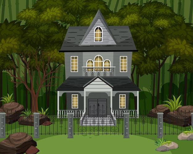 Scena z nawiedzoną rezydencją halloween