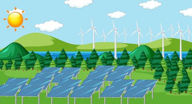 Scena z ogniwami słonecznymi i turbinami w polu