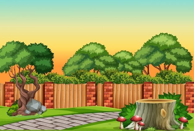 Scena z ogrodem natury