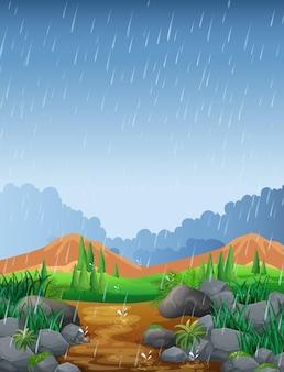 Scena z opadami deszczu na polu