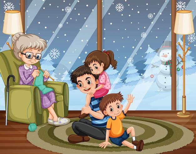 Scena z osobami przebywającymi w domu z rodziną