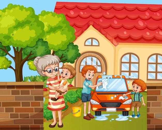 Scena z osobami z rodziny relaksującej się w domu