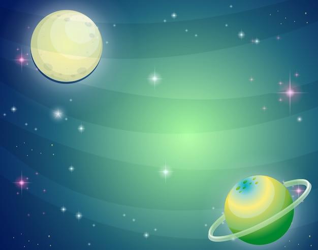 Scena z planetą i księżycem