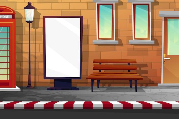Scena z pobocza z budką telefoniczną, szyldem na reklamę, drewnianą ławką i latarniami na deptaku w pobliżu drogi