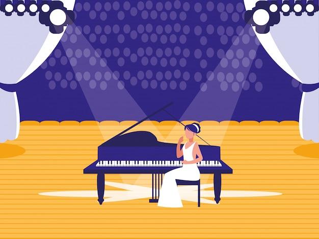 Scena z pokazem pianisty