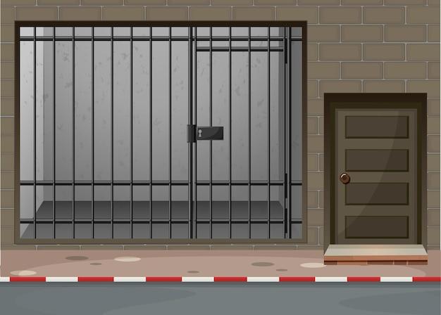 Scena z pokojem więziennym w budynku