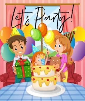 Scena z przyjęciem urodzinowym z rodziną