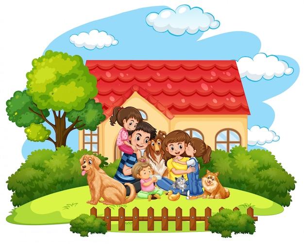 Scena z rodziną dobrze się bawiącą w domu