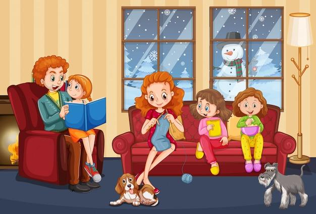 Scena z rodziną, która miło spędza czas w domu