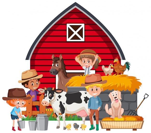 Scena z rolnikami i wieloma zwierzętami w gospodarstwie