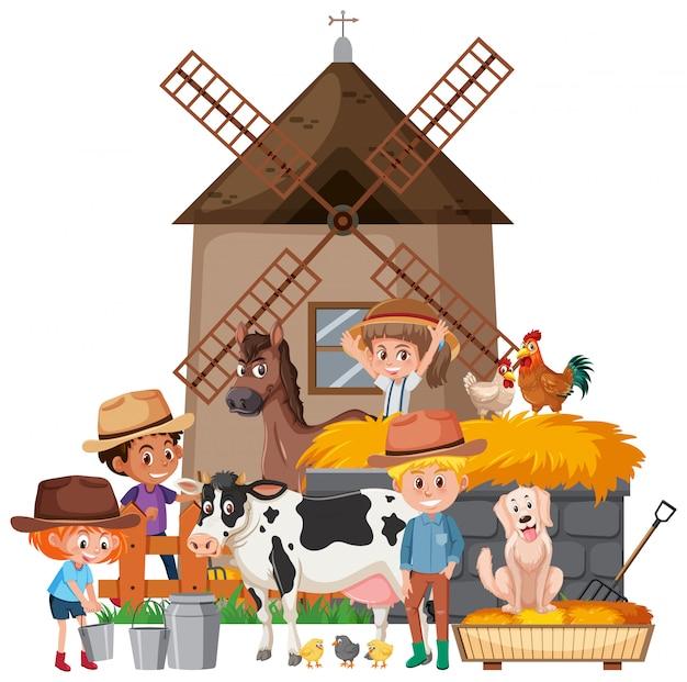Scena z rolnikami i wieloma zwierzętami