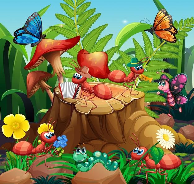 Scena z roślinami i owadami w ogrodzie