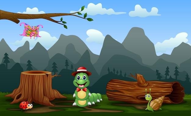 Scena z roślinami i owadami w terenie